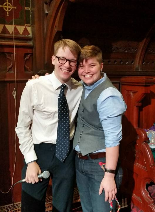 Me and Davis, the most handsome vocalist duo volunteering can buy.